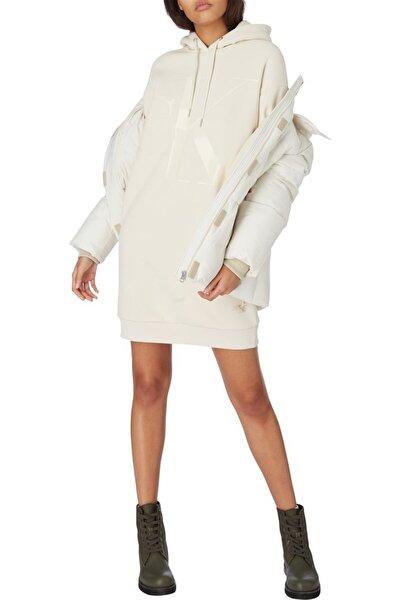Kadın Beyaz Eco Ck Logo Hoodıe Dress Elbise