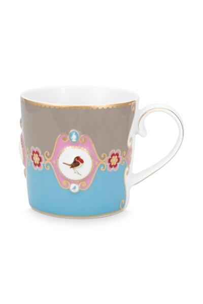 Love Bird Mavi/haki Madalyon Desenli Küçük Mug 150 Ml