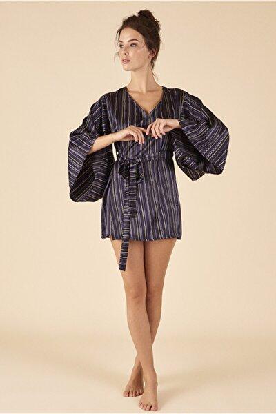 Kadın Siyah Çizgili Kimono Sabahlık