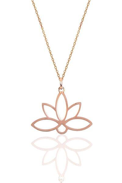 Gümüş Sonsuz Yaşamın Simgesi Lotus Çiçeği Kolye Sgtl10085rose