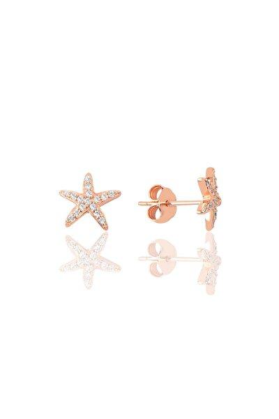 Gümüş Zirkon Taşlı Deniz Yıldızı Modeli Küpe