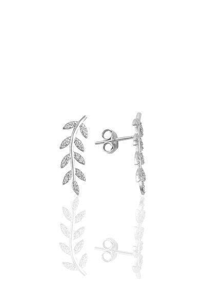 Gümüş Zirkon Taşlı Yaprak Modeli Küpe