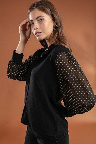 Kadın Klasik Yaka Simli Balon Kol Gömlek 30847