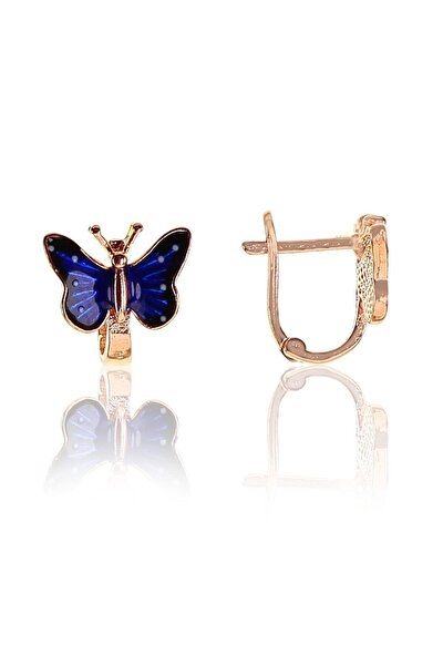 Gümüş Mineli Kelebek Modeli Küpe