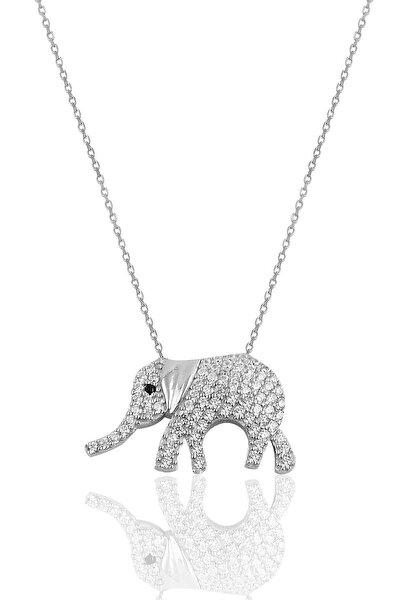 Gümüş Zirkon Taşlı Fil Modeli Kolye