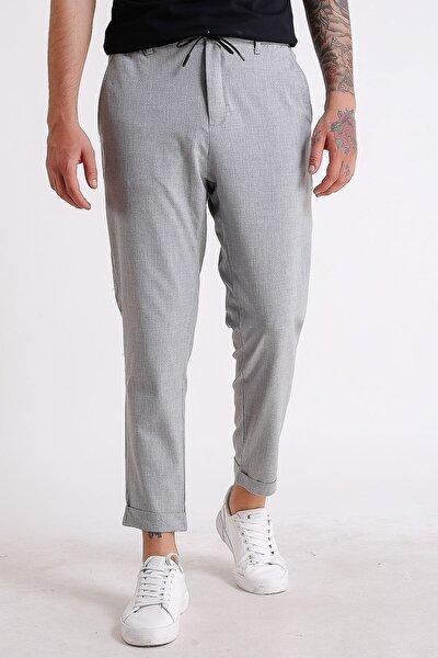 Erkek Gri Beli Lastikli Ve Ipli Duble Paçalı Jogger Pantolon