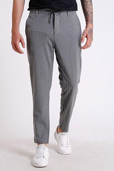 Erkek Koyu Gri Çizgili Beli Lastikli Ve Ipli Jogger Pantolon