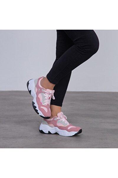 Kadın Pudra Bağcıklı Sneaker 100497259