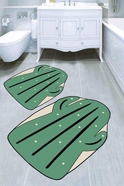 Yeşil Kaktüs Desenli  Banyo Paspası 2'Li 50x60 Cm - 60x100 Cm