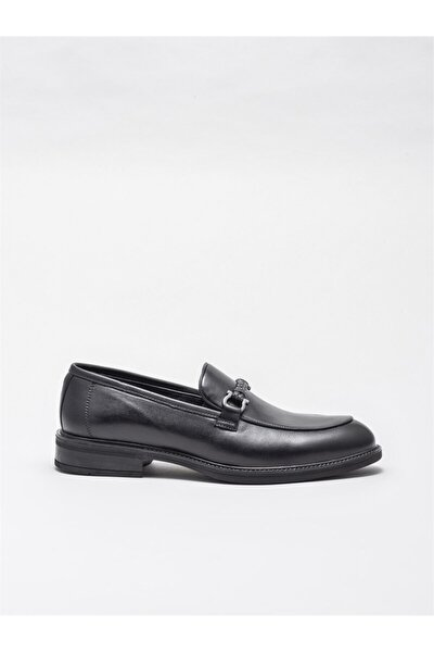 Erkek Siyah Deri Günlük Ayakkabı