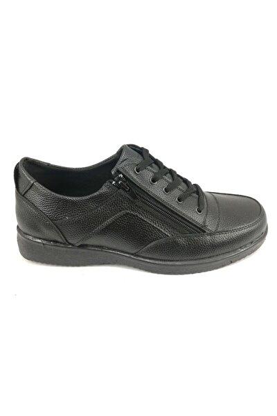 Erkek Siyah Fermuarlı Geniş Taban Battal Boy Ayakkabı