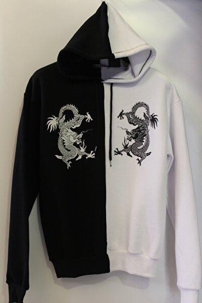 Unisex Ejderha Desenli Kapüşonlu Oversize Sweatshirt