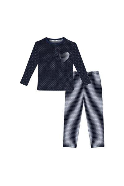 Çocuk Lacivert-beyaz Kapitone Uzun Kollu Pijama Takımı