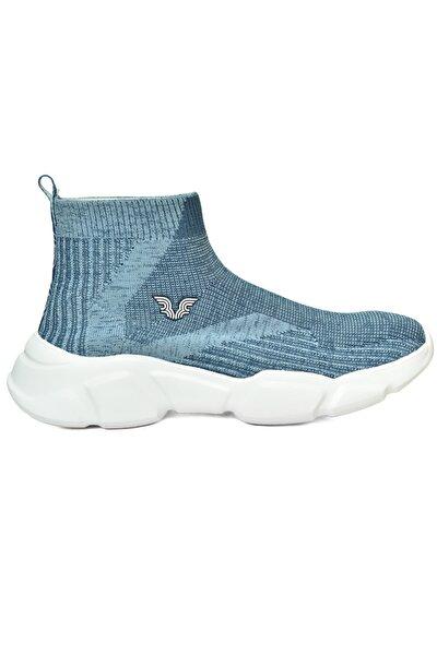 Kadın Mavi Bilekli Çorap Model Spor Ayakkabı 8865