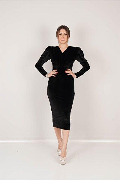 Kadın Siyah Kadife Büzgü Detaylı Elbise