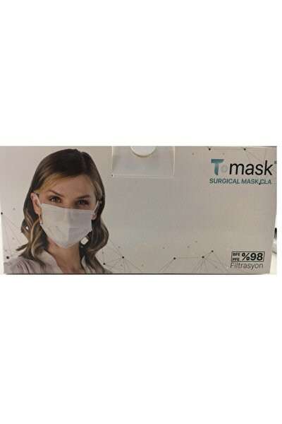 T-mask 3 Katlı Telli %98 Meltbolwn Cerrahi Yüz Maskesi Beyaz 100 Adet