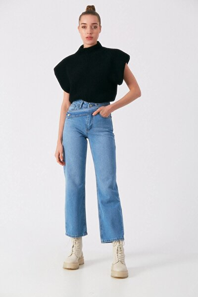 Kadın Mavi Kuşak Detaylı Jean Pantolon