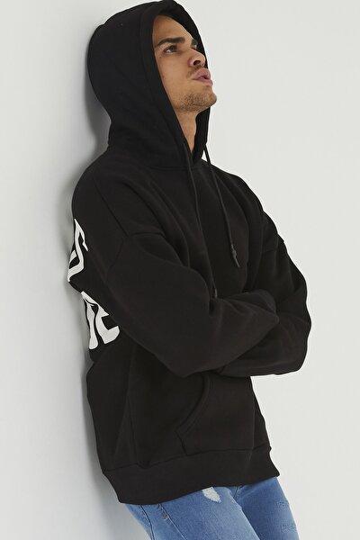 Erkek Siyah Arkası Baskılı Sweatshirt 1kxe8-44319-02