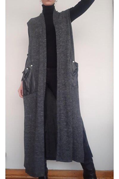 Kadın Füme Triko Uzun Yelek