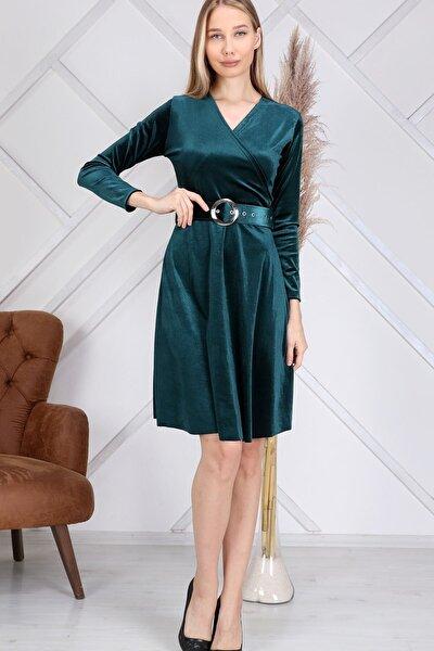 Kadın Zümrüt Yeşili Kadife Kısa Kemerli Yumuşak Ithal Kumaş Büyük Beden Elbise