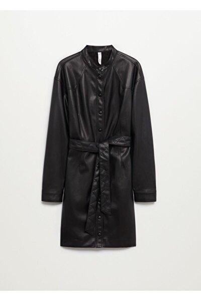 Kadın Siyah Suni Deri Gömlek Elbise