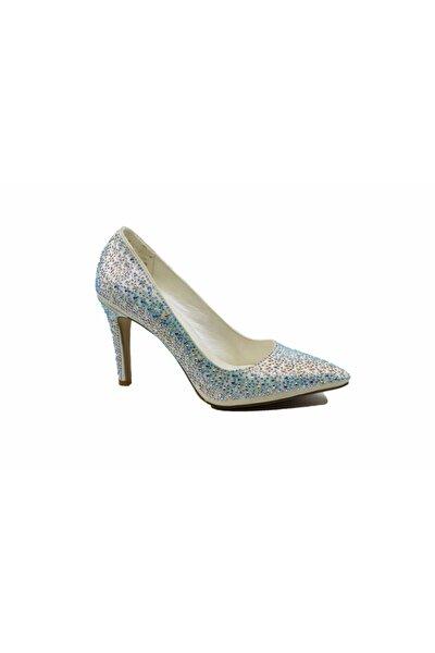 Kadın Gümüş Taşlı Stiletto Ayakkabı