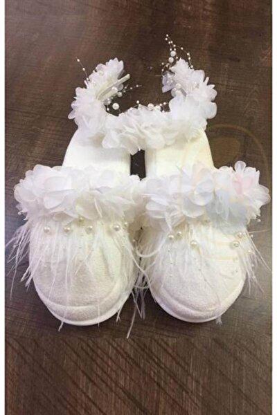Beyaz Incili Beyaz Çiçek Süslemeli Lohusa Terlik Taç Takımı