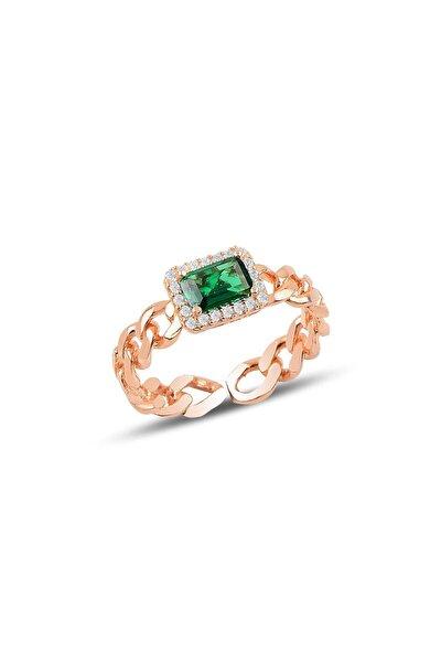 Gümüş Ayarlamalı Baget Yeşil Taşlı Zincir Modeli Yüzük