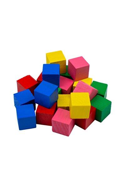 Ahşap Küp Blok Renkli 20 Adet