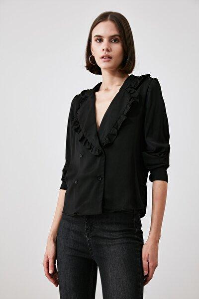 Siyah Fırfırlı Bluz TWOAW21BZ1562