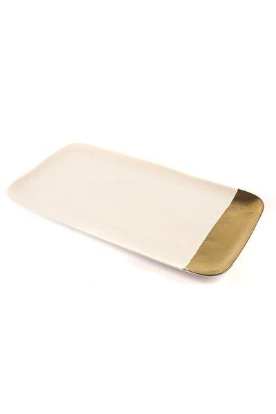 Porselen Beyaz Gold Dikdörtgen Servis 22x40 cm