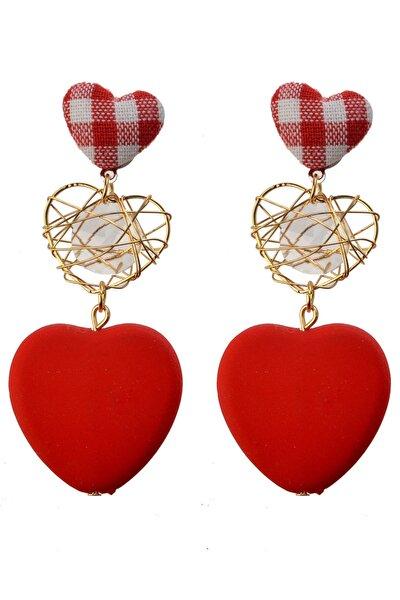 Kadın Kırmızı Üçlü Kalpler Küpe