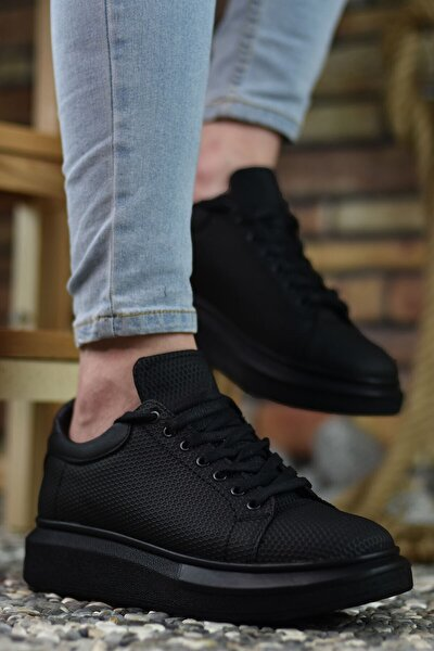 3D Baskılı Siyah Siyah Erkek Sneaker