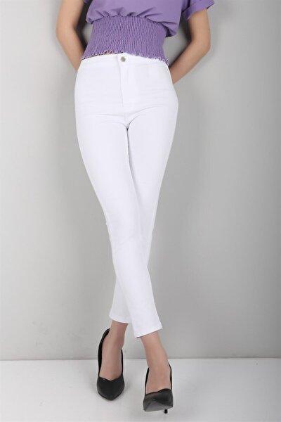 Kadın Beyaz Rahat Kumaş Cepsiz Likralı Bayan Kot Pantolon