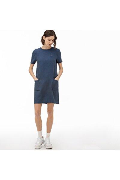 Kadın Lacivert Çizgili Kısa Kollu Denim Elbise