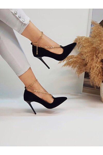 Kadın Siyah Zincirli Topuklu Ayakkabı
