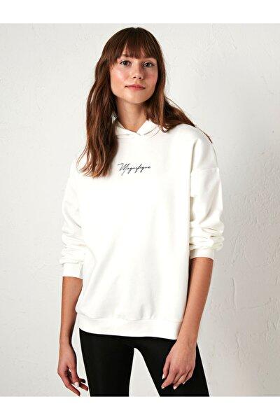 Kadın Beyaz Sweatshirt