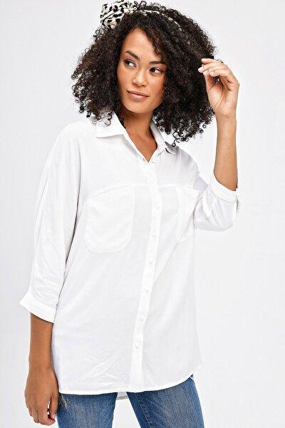 Kadın Krem Cepli Rahat Kesim Capri Kol Yakalı Gömlek