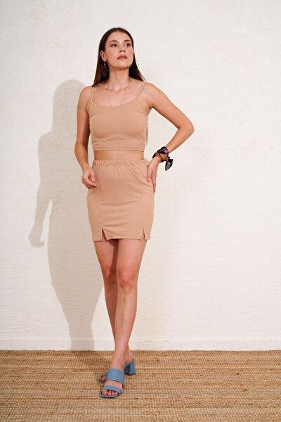 Kadın Kahverengi Beli Lastikli Fitilli Mini Etek