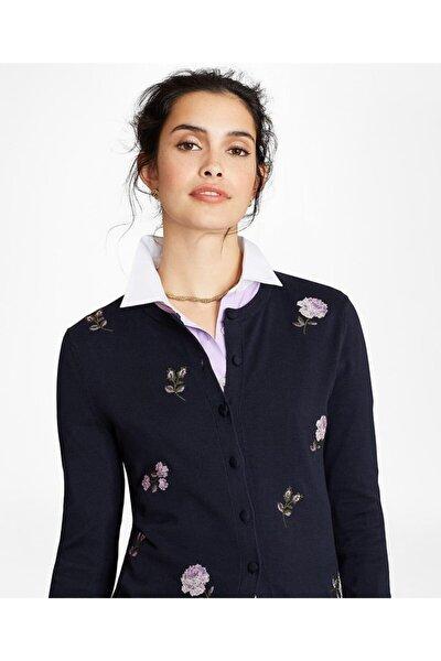 Kadın Lacivert Çiçek İşlemeli Pamuk Hırka