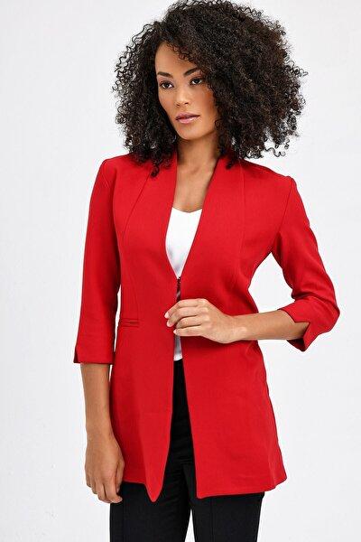 Kadın Kırmızı Hakim Yaka Flato Cepli Uzun Yırtmaçlı Kol Ceket 2534