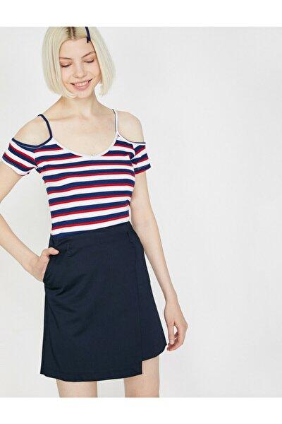 Kadın Lacivert Omzu Açık V Yaka Kısa Kollu T-Shirt 9YAL18339IK