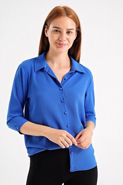 Kadın Lacivert Yakalı Kapri Kol Kadın Şık Ofis Gömlek