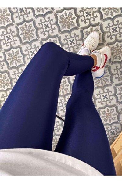 Kadın Lacivert Yüksek Bel Günlük Ve Sporda Kullanım Toparlayıcı Parlak Disco Tayt 1 Beden Toparlar