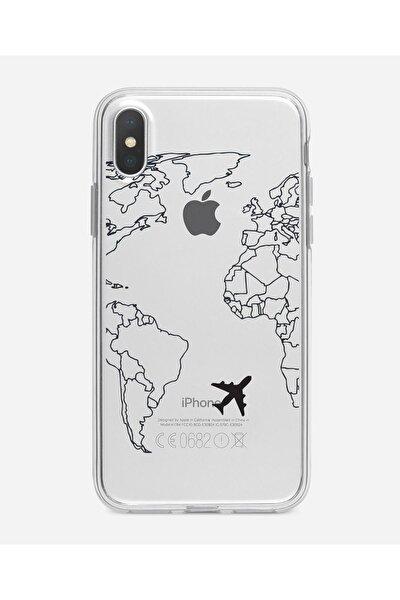 Iphone X World Map Lines Premium Şeffaf Silikon Kılıf Siyah Baskılı