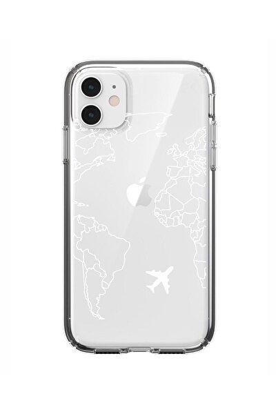 Iphone 11 World Map Lines Premium Şeffaf Silikon Kılıf Beyaz Baskılı