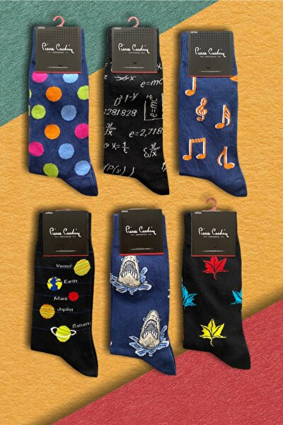 6 'lı Erkek Desenli Neşeli Pamuk Çorap