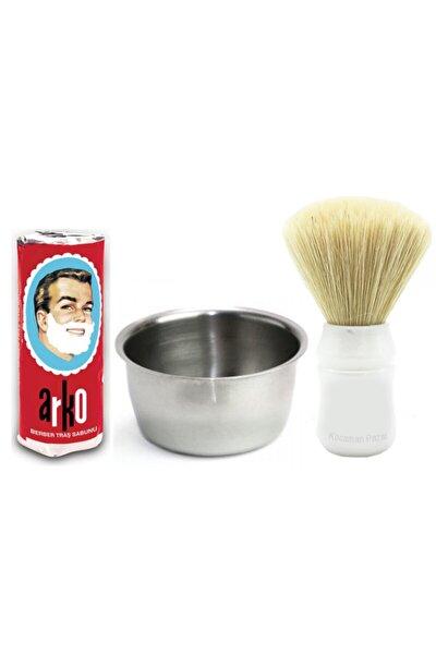 Tıraş Seti Sakal Tıraş Fırçası + Arko Tıraş Sabunu + Çelik Tıraş Köpürtme Tası