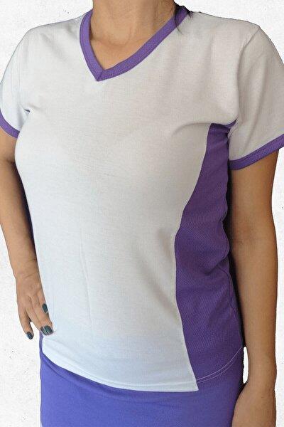Kadın Mor Yanları Mor Modelli  Spor Tişört