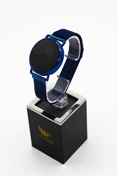 Unisex Mavi Manyetik Kordon Dokunmatik Kol Saati